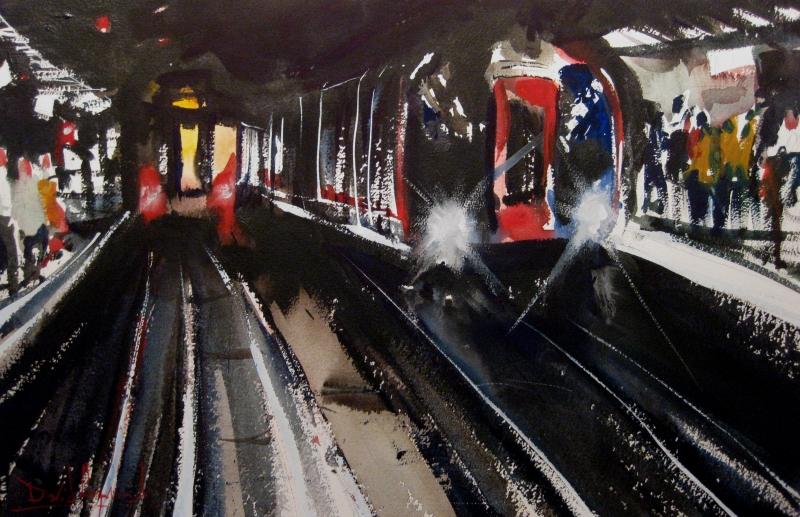 David Heywood London Underground Original Watercolour