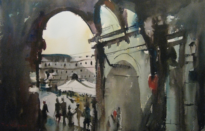 David Heywood Madrid - looking through the arch Original Watercolour