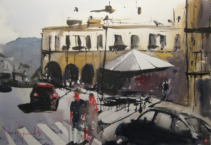 David Heywood Zebra in Ronda Original Watercolour