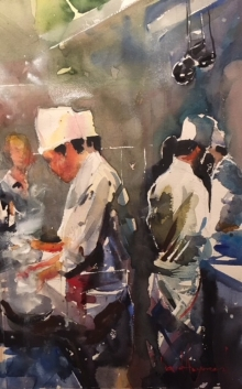 "David Heywood 'Chefs"" Original Watercolour"