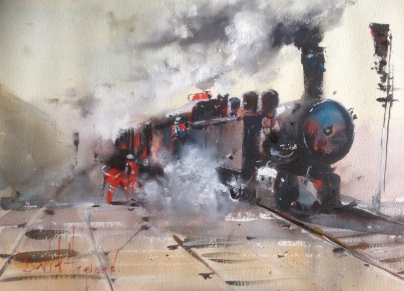 David Heywood Steam Engine Original Watercolour