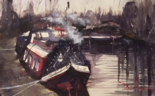 "David Heywood 'Thames barge"" Original Watercolour"