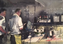 David Heywood 'Bar tenders' Original Watercolour