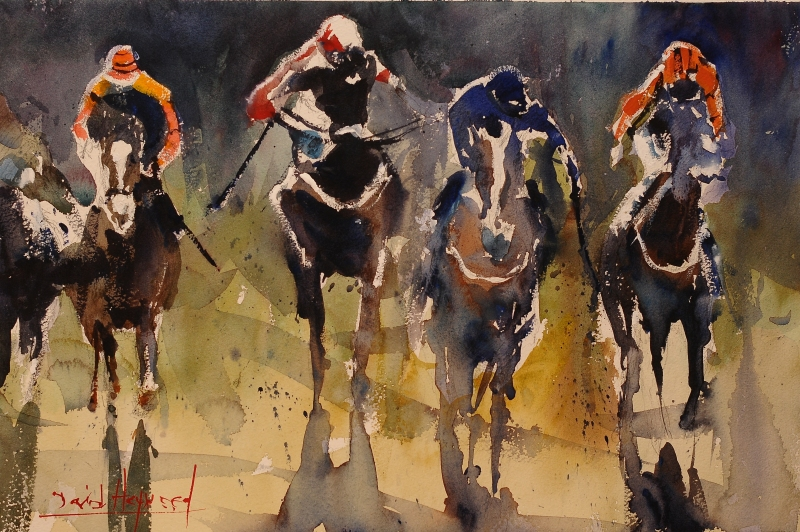 David Heywood Final Furlong Original Watercolour