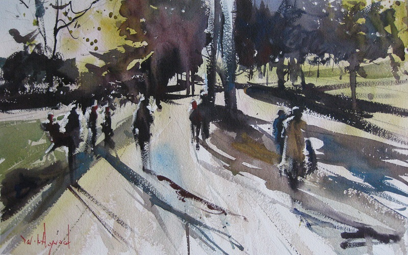 David Heywood Hyde Park Original Watercolour